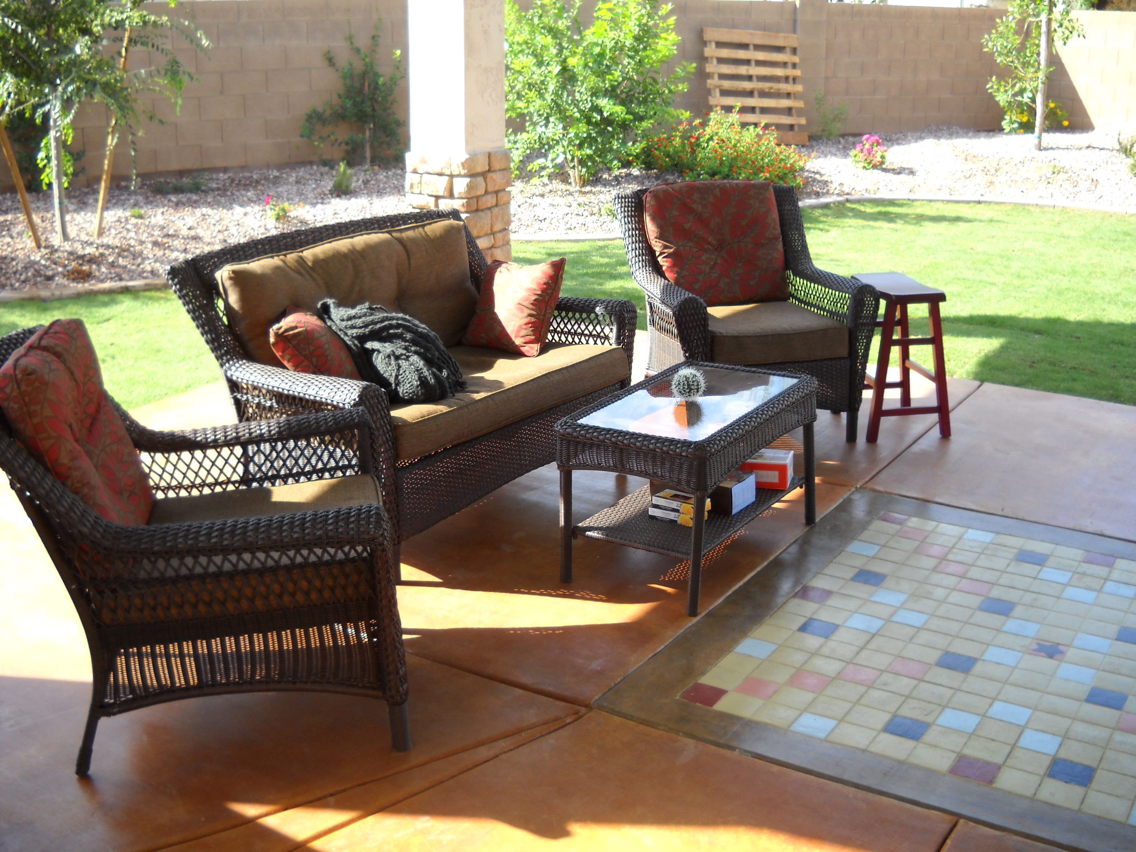 Backyard Scrabble Tiles : The final step was acid staining the patio a warm buckskin color