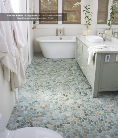 Bathroom Floors Of River Rock A Detailed House