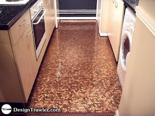 Penny Tile Floor penny floor penny tile floor copper tile The Three Pictures Above Are Of A Massive Concrete Floor I Could See Some Car Enthusiast Doing This To A Garage Floor