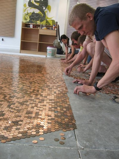 Cents and sensibility how to make a penny floor a detailed house the three pictures above are of a massive concrete floor i could see some car enthusiast doing this to a garage floor solutioingenieria Image collections