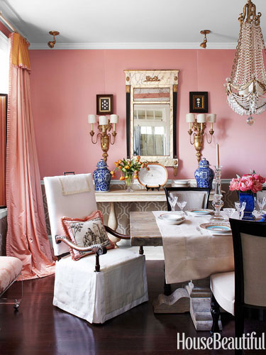 Designer Rooms A Peach Dining Room And Tiffany Blue Boudoir